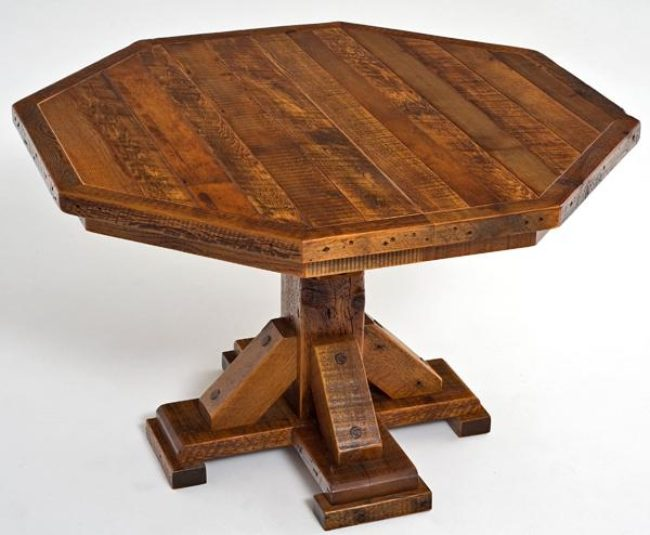 Barnwood Octagon Dining Table Pedestal Base